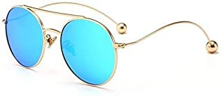 Fashion Metal Round Frame Fashion Sunglasses Gift (Color: Blue) Beautiful Children's Retro Big Box Sunglasses Retro (Color : Blue)