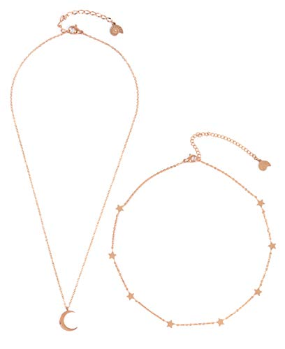 Happiness Boutique Set Bijoux Luna Stella Oro Rosa 2 Pezzi | Collana Luna Crescente e Choker Catenina Filigrana