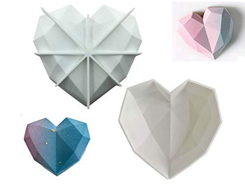 Luckynono Molde de Silicona en 3D con Forma de corazón,20x15.5x3cm,Blanco