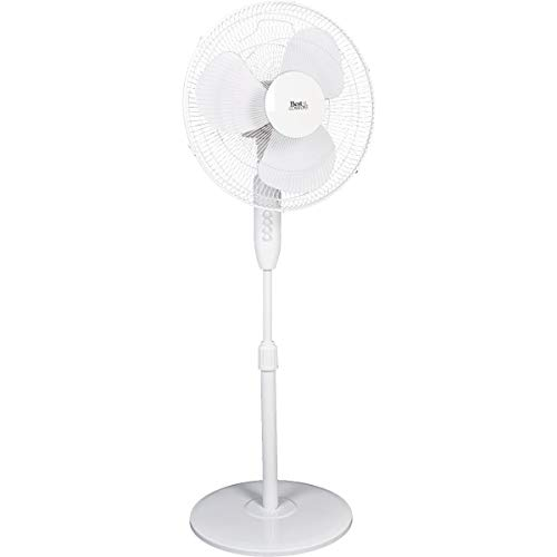 SIM SUPPLY Best Comfort 16 in. 3-Speed Extends to 49 in. H. White Oscillating Pedestal Fan - 1 Each