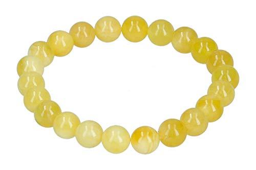 Pulsera de Bolas de Cristal 1001, 9 mm/19 cm, elástica, ámbar Blanco y Amarillo.