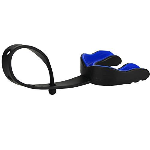Oral Mart (Schwarz/Blau Sport Mundschutz mit Gurt für American Football, Eishockey, Lacrosse für Erwachsene