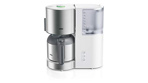 Braun KF 5105 WH - IDCollection - Cafetera de filtro, con AromaSelect y termo de 10 tazas, disfrute perfecto, 1000 W, color blanco y acero inoxidable