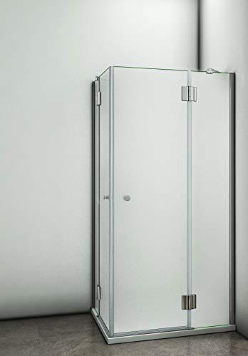 Aica Sanitär 100 x 90 x 190 cm Duschkabine Duschabtrennung Duschtür aus 8mm Milchglas Sicherheitsglas,Splitterschutzfolie