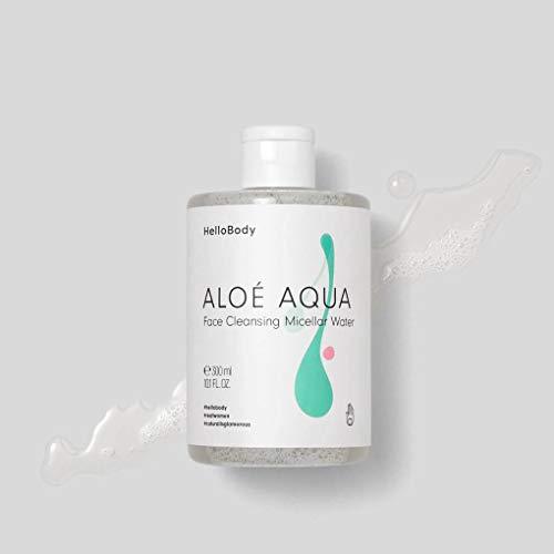 HelloBody ALOÉ AQUA Reinigendes Mizellenwasser (300 ml) – Vegane Gesichtsreinigung – Sanfte Hautreinigung von Schmutz und Talg mit Aloe Vera und Hyaluronsäure.
