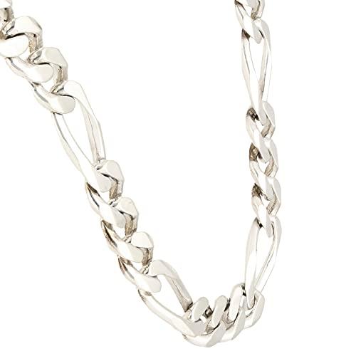 Jollys Jewellers Cadena Figaro de plata de ley de 50 cm para hombre (11 mm de ancho)