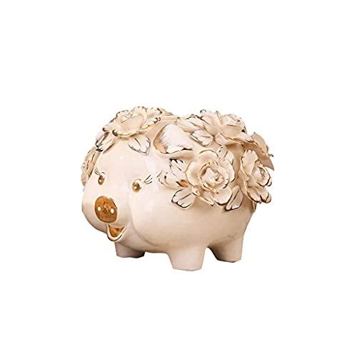 XHAEJ Hucha para niños, caja fuerte para dinero, hucha, banco de monedas de cerámica con dibujos animados para monedero, regalo único de cumpleaños para decoración de guardería, hucha blanca