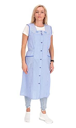 Bottoni in cotone, a righe, grembiule da cucina, abito da casa/camice Blu 62