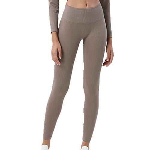 N\P Leggings deportivos sin costuras acanaladas de cintura alta para mujer