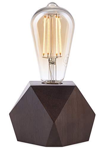 CROWN LED Tischlampe Vintage Batteriebetrieben - Design Tischleuchte aus Holz Farbe Eiche dunkel E27 Fassung inkl. Retro Edison LED Glühbirne EL10