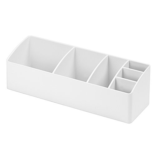 iDesign Medikamentenbox für Bad und Medizinschrank, kleine Medizinbox aus Kunststoff, übersichtliche Medikamenten Aufbewahrung mit 6 Fächern, weiß