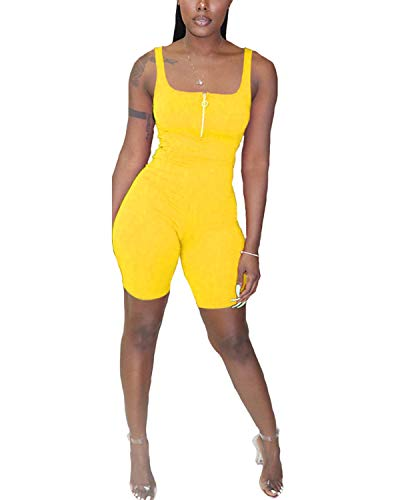 BIUBIU Womens Sportswear Outfit,Sexy One Piece Tank Jumpsuit Short Summer Sleeveless Rompers Yellow L