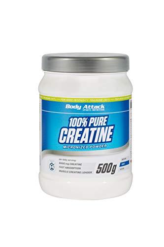 Body Attack 100% Pure Creatine - 500g Pulver, hochwertiges mikrofeines Kreatin Monohydrat für Muskelwachstum, Kraft und Ausdauer, Produkt der Kölner Liste, hochdosiert mit 6000mg, Made in Germany