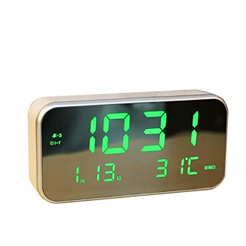 ZCZZ Reloj Despertador de Escritorio Reloj Despertador Digital LED Regalo USB Reloj Despertador Luminoso silencioso Ajustable portátil Rectángulo Blanco/Verde Reloj de Escritorio (Color: B)