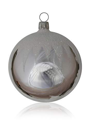 Lauschaer Glas Kugeln silber mit Schneedachdekor 5 Stück d 6cm Christbaumschmuck Weihnachtsschmuck mundgeblasen,handdekoriert Original