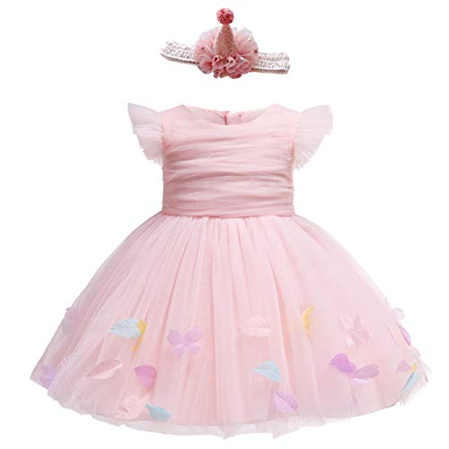 Glamulice Baby Girls Pink Flower Dress Infant First Birthday Outfit Wedding Bridesmaid Ballerina Party Dresses (12M / 12-18 Months, Pink-2pcs)