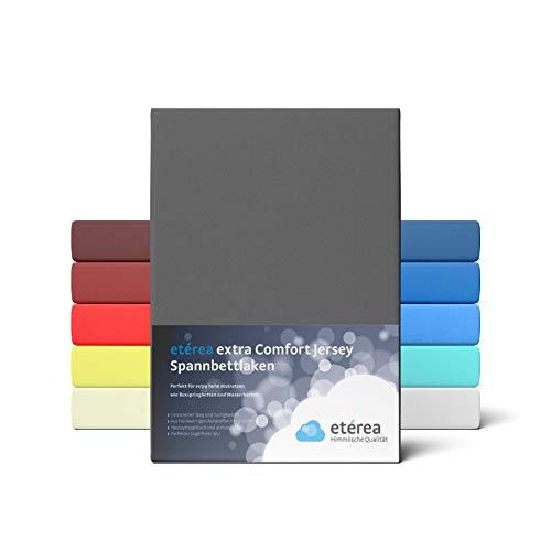 etérea Extra Jersey Spannbettlaken 180x200 bis 200x220 cm - Spannbetttuch für Boxspringbetten, Wasserbetten und Normale Matratzen, aus 100% Baumwolle und ca. 35 cm Steghöhe, Anthrazit