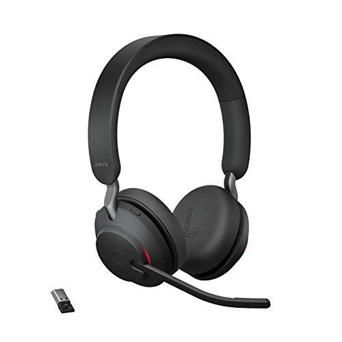 Jabra Evolve2 65 Wireless Headset – Noise Cancelling UC Zertifizierte Stereo Kopfhörer mit langer Akkulaufzeit – USB-A Bluetooth Adapter – schwarz