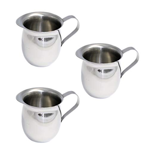 Set of 3 Bell Creamers, Mirror Finish Stainless Steel, Wide Mouth with Pouring Spout (3 OZ)