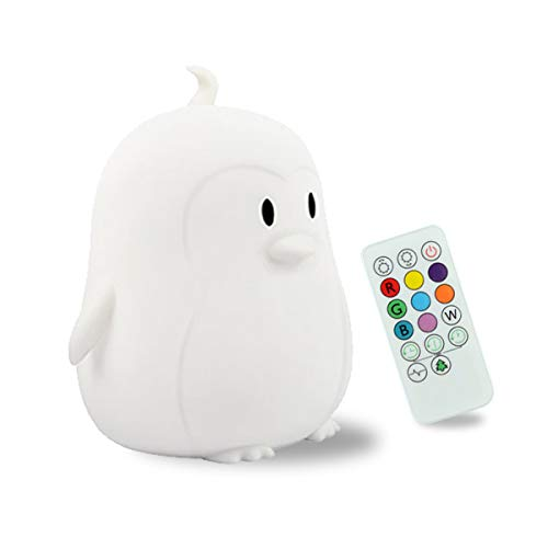 Kids Night Light, Portable Touch Sensor Remote Control LED Nightlight Multi-Color Lamp USB Rechargeable Silicone Lights 9 Color Changing Lamps for Kids Baby Bedroom Nursery Gifts Girls Women (Penguin)