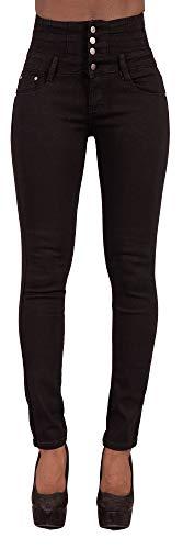 Damskie spodnie z wysoką talią wąskie dopasowane elastyczne jeansowe podnoszenie pośladków czarne spodnie jeansowe (40, czarny)