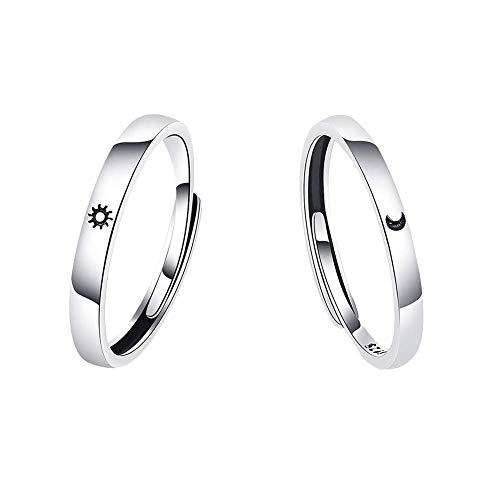 Uposao Par de anillos de plata de ley 925 para mejor amigo, sol y luna, anillo de dedo con pulido de cobre, ajustable, regalo para parejas, novios, novias y novias
