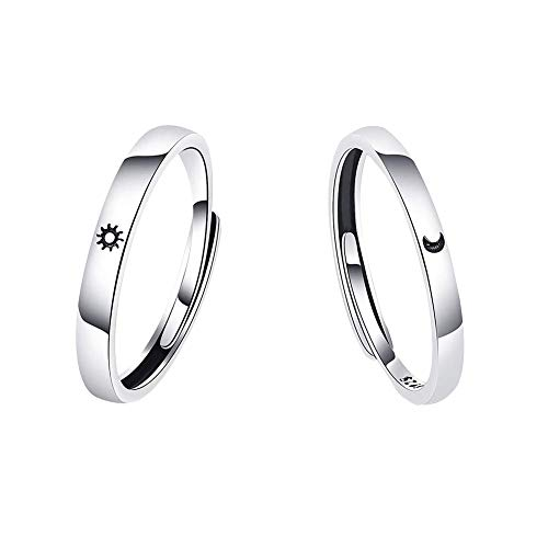 Uposao Par de anillos de plata de ley 925 para mejor amigo, sol y luna, anillo...