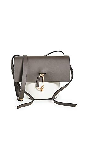 Leather: Calfskin Colorblock design, Structured silhouette, Brushed gold-tone hardware Length: 8.25in / 21cm Height: 7in / 17.5cm Fold-over flap with turn-lock clasp