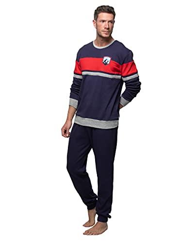 Abanderado Nightwear Men Juego de Pijama, Azul Marino, XL para Hombre