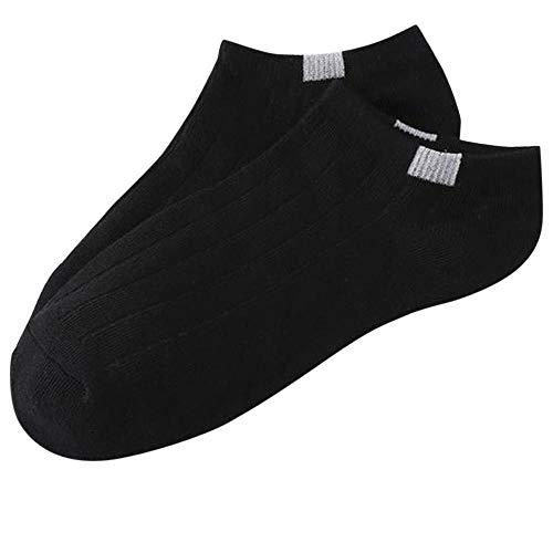5pairs Solid Color Cotton Socken Invisible Non-Slip Boots-Socken EIN Paar Frauen Männer Breath Tripe Sports Short Socken (Color : Black)