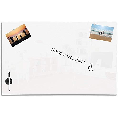 VISCOM Magnettafel Glas 90 x 60 cm, Weitere Größen und Farben Wählbar, Magnettafel, Memoboard, Magnetisch, Weiß (Inkl. 5 starke Neodym Magnete)