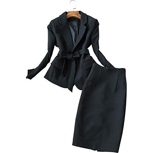 Falda de Oficina para Mujer, Conjunto de Dos Piezas deModa MujerNegra, Chaqueta de Traje pequeño, Falda Delgada Casual