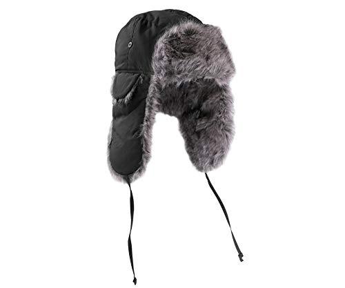 A. Blöchel Confort/ample et Chapeau D'aviateur Câlin Style Russe Bonnet d'hiver Olive ou Nero tailles M-XL - Noir, M / 57-58