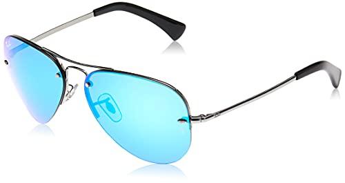 Ray-Ban Unisex RB3449 Sonnenbrille, Grau (Gestell: Gunmetal, Gläser: Blau Verspiegelt 004/55), Large (Herstellergröße: 59)