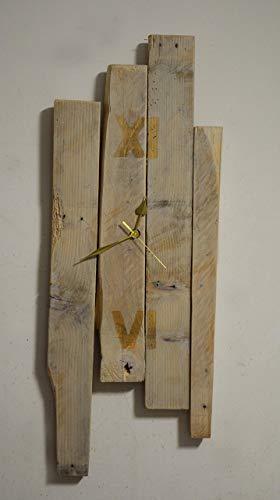 Reloj de pared de madera blanco moderno hecho con plataforma recuperada diseño rustico