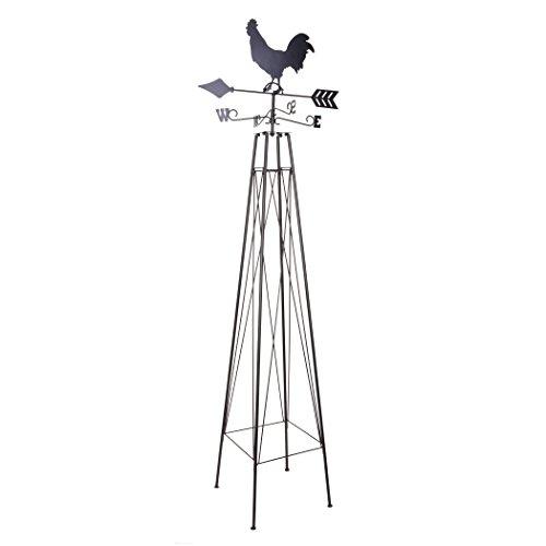 Panacea 86806 Rooster Weathervane Obelisk Trellises Garden Accessories, 74 in, Rustic