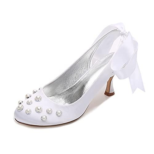 Zapatos de Novia Tacón Alto Dedo del pie Cerrado Satín Zapatillas Lazo...