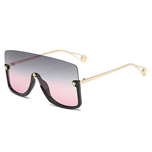Gafas de Sol Sunglasses Gafas De Sol Vintage Sin Montura para Mujer, Gafas De Sol Amarillas De Leopardo De Gran Tamaño A La Moda, Remache De Estrella, Sombras De Tiro Cal