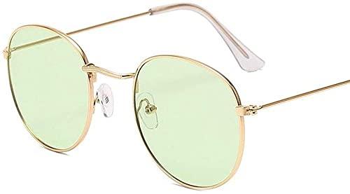 Gafas de sol redondas de marco pequeño clásico para mujeres/hombres de aleación espejo gafas de sol vintage, Oro Verde Océano,