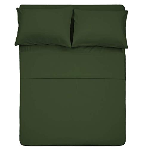 Best Season 4 Piece Bed Sheet Set (Queen Size Olive Green) 1 Flat Sheet,1 Fitted Sheet and 2 Pillow Cases,100% Brushed Microfiber 1800 Luxury Bedding,Deep Pockets,Extra Soft & Fade Resistant