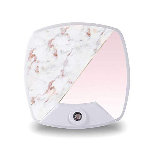 Lámpara de noche LED con sensor inteligente de atardecer a amanecer, elegante oro rosa mármol rubor blanco cálido lámpara para niños escaleras, pasillo cocina dormitorio