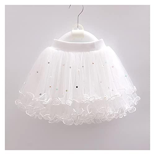 Youpin 1 – 12 años para niños, falda de perlas, vestido de niña, con cuentas, volantes, falda de encaje, falda de niña, danza, princesa, disfraces de fiesta (color: blanco, tamaño de niño: 3T 100 cm)