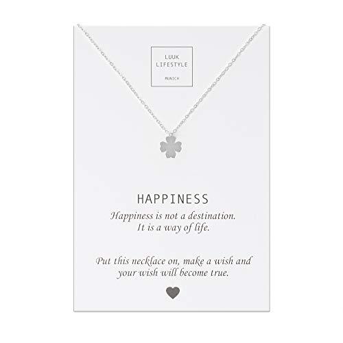 LUUK LIFESTYLE Edelstahl Halskette mit Kleeblatt Anhänger und Happiness Spruchkarte, Glücksbringer, Damen Schmuck, silber