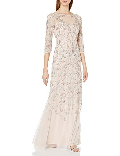 Adrianna Papell Women's Beaded Long Gown with Illusion Neckline, Shell, 6 (Apparel)