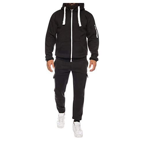 Sllowwa Herren Jumpsuit Overall Jogging Anzug Trainingsanzug Jogger Sportanzug Herbst Print Zipper Sweatshirt mit Kapuze Tops Hosen Sets M-3XL