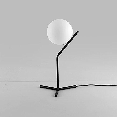 Creative Lampe de bureau en verre sphérique, abat-jour en verre, E27, noir, nordique Style moderne salon chambre table de chevet bureau lampe de bureau