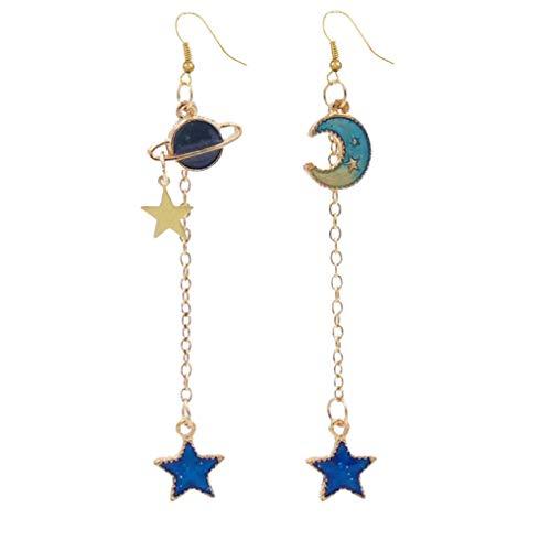 Beaums Las mujeres de la estrella de la luna Planeta del oído aleación de caída pendiente largo oído de las muchachas joyerías del regalo de cumpleaños de vacaciones