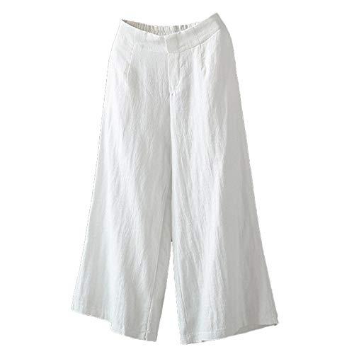 Andongnywell Womens Casual Loose Elastic Waist Cotton Trouser Cropped Wide Leg Pants Cotton Linen Pants (White,Medium)