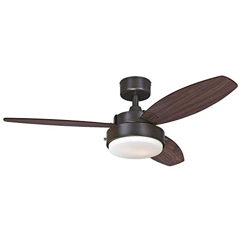 """Alloy Two-Light 42"""" Reversible Three-Blade Indoor Ceiling Fan, Oil Rubbed Bronze with Opal Frosted Glass - Remote Control not included"""