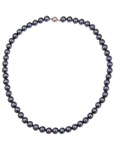 Leslii Damenkette Tahiti-Look Perlen-Kette Collier kurze Halskette Perlen-Collier Länge 45,5cm mit Magnet-Verschluss in Dunkelgrau Grau